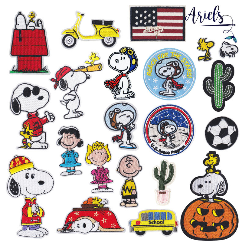 50pcs/lot Cartoon Embroidery Patches Clothing Dog Cactus Halloween Sewing Accessories Appliques Iron Heat Transfers