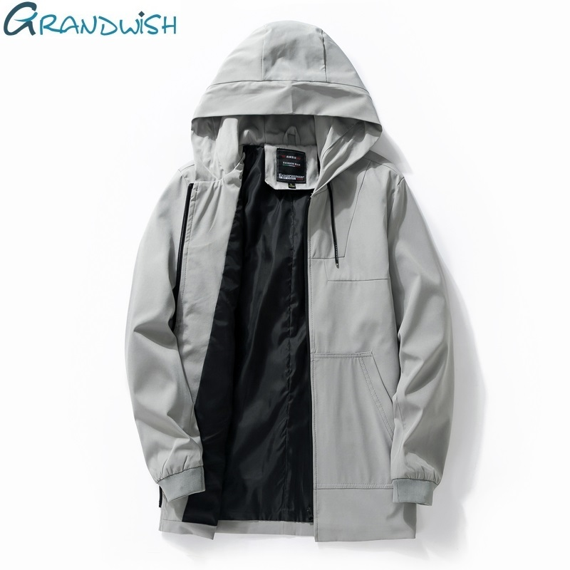 Grandwish Solid Hooded Jacket Men Slim Fit New Fashion Mens Windbreaker Jackets with Hood Male Jacket Zipper High Quality,DA502