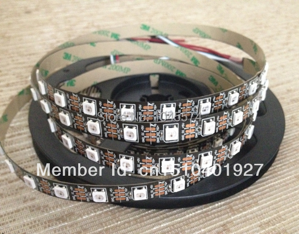 Free shipping dc 5v 5m 30 60 pixel/m 5050 smd rgb ws2812b ws2812 ws2811 led strip,black pcb,programmable,full color