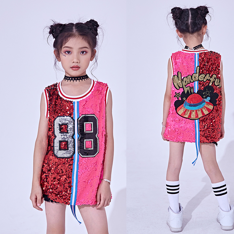 Songyuexia New Hip Hop Dance Costumes Kids Sequin Vest Top Child Jazz Stage Dress Street Dancing Clothes Girls Performance Wear