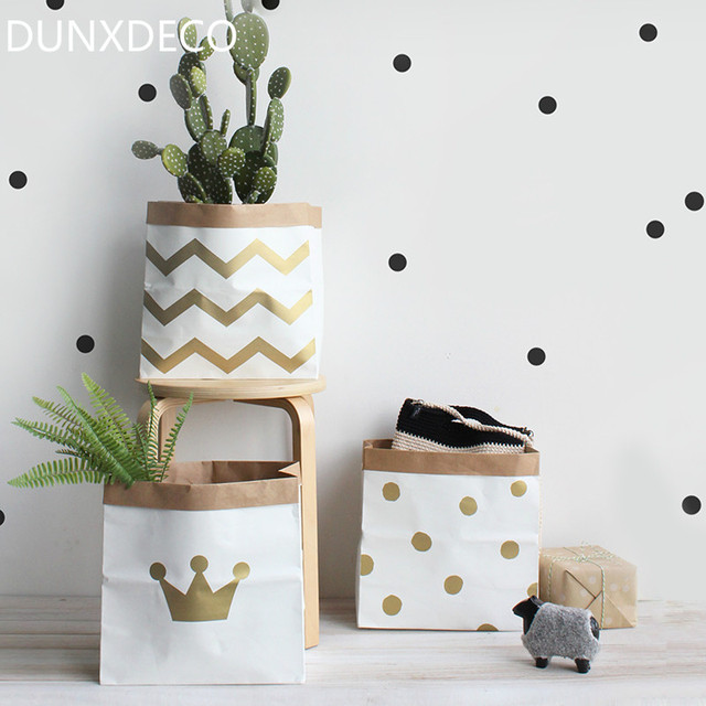 DUNXDECO Home Office Storage Kraft Paper Bag Nordic Golden Wave