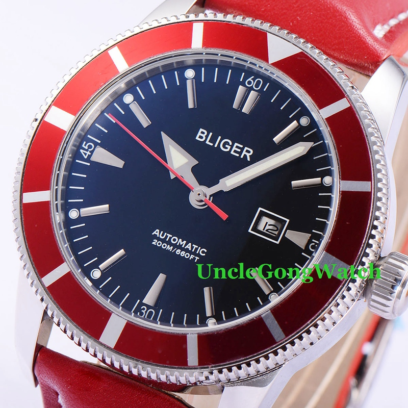 46mm Bliger Automatic Mens Watches Black Dial Red Rotatable Bezel Timepiece Leather Strap Deployment Buckle Clock BA4601SBR