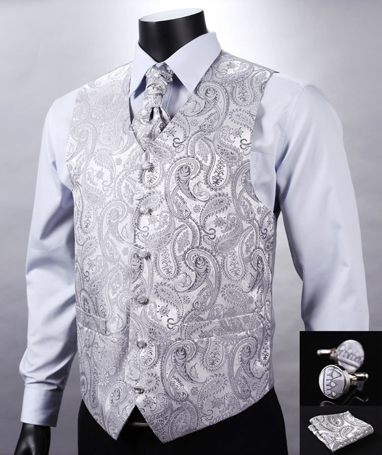 VE12 Silver Gray Paisley Top Design Wedding Men 100%Silk Waistcoat Vest Pocket Square Cufflinks Cravat Set for Suit Tuxedo Детская кроватка