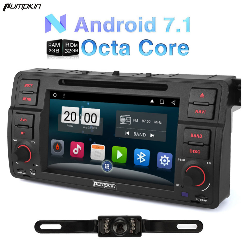 Pumpkin 2 Din 7'' Android 7.1 Car DVD Player For BMW E46/M3 GPS Navigation Bluetooth Car Stereo FM Rds Radio Wifi DAB+ Headunit android 8 0 2 din 7 universal car radio no dvd player gps navigation 4gb ram car stereo fm rds wifi 4g dab headunit