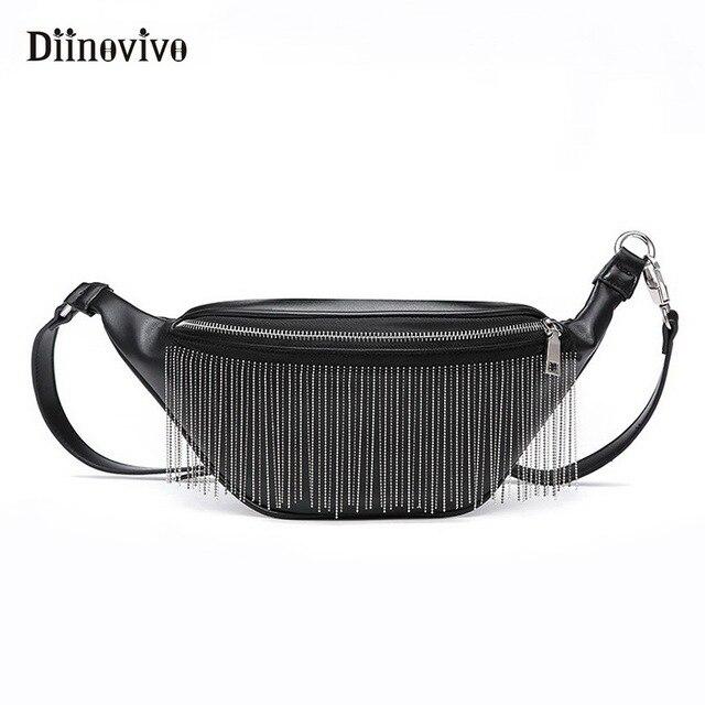 91b58b26fb8 DIINOVIVO Punk Fanny Pack Classic Women Waist Bag Fashion Tassels Black  Leather Waist Pack Bananka Belt