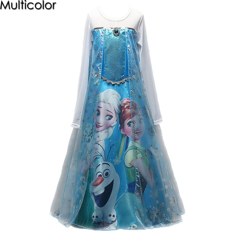 2017 Custom Hot Elsa Anna Girls Princess Children Dress Party Cloth Vestidos Dress Summer Baby Kids Custom Cosplay Wedding Dress цена 2017