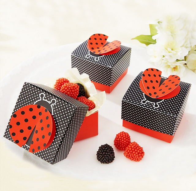 50 X Black Red Polka Dots Ladybird Style Wedding Favors Boxes Baby