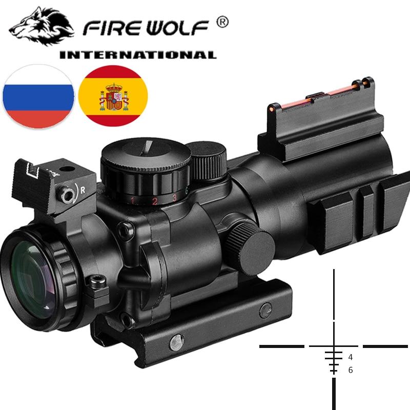 Lunette de visée 4x32 Acog 20mm queue d'aronde optique réflexe portée visée tactique pour fusil de chasse fusil Airsoft Sniper loupe pistolet à Air