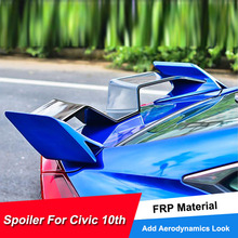 цена на For Honda Civic Rear Wing Car Spoilers 2016 17 18 Yofer Sport Racing Car Spoiler For Civic 10th FRP Material Unpainted Color