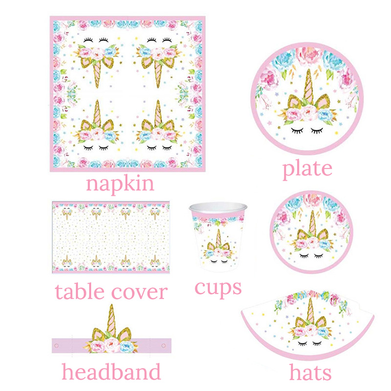 Unicorn Party Decoration Kit Unicornio Plates/Cups/Napkins/Table Cover /Headband Baby Shower Birthday Decors Kids Party Supplies
