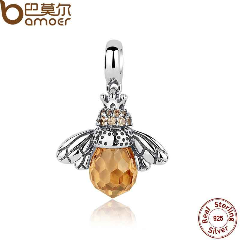 BAMOER Classic New 925 Sterling Silver Orange Wing Animal Bee Pendants fit Bracelet for Women Accessories SCC035