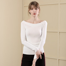 2018 New Fall Bottoming Shirt One-shoulder Backless Solid Color Pullover Knit T-shirt Female Sweater vestidos knit cold shoulder bottoming t shirts in black