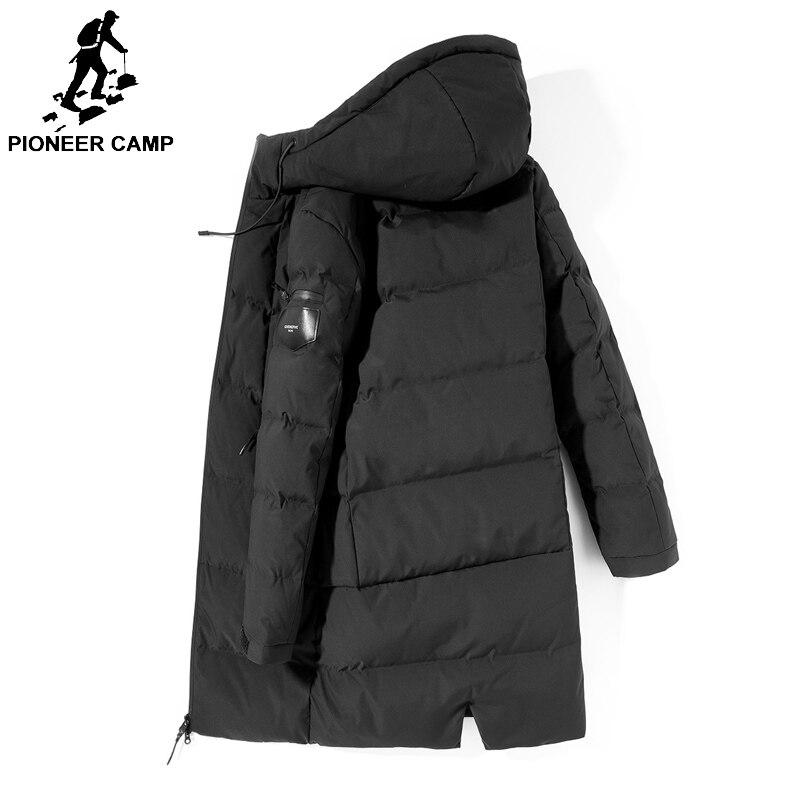 Pioneer Camp d'hiver longue doudoune jeunes hommes marque vêtements hoodies Épais 90% de canard Blanc manteau de duvet Mâle