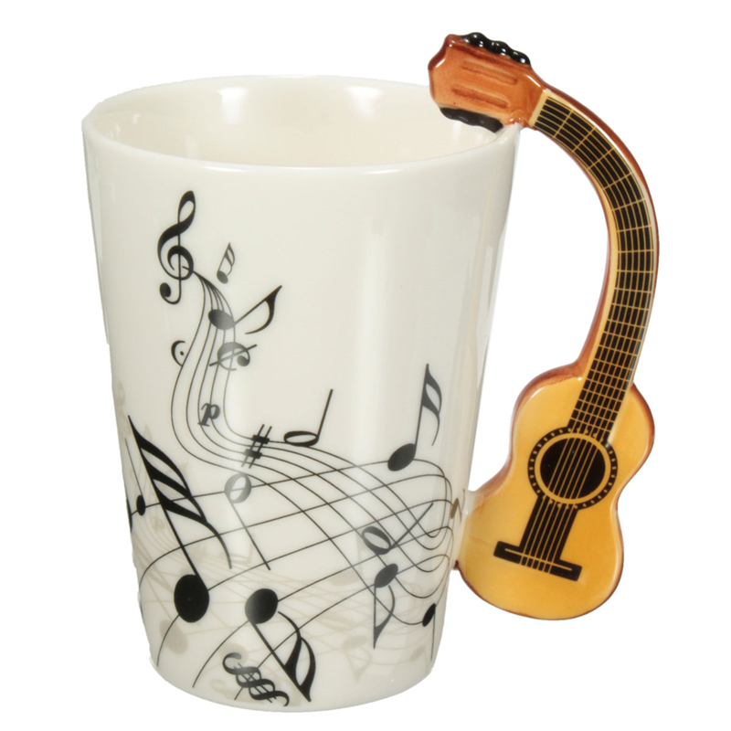 Novelty 220ml Guitar Ceramic Cup Personality Music Note Milk Juice Lemon Mug Coffee Tea Cup Home
