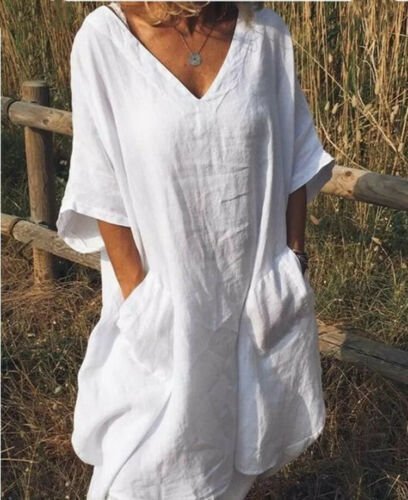 2019 Newest Women Boho Summer Half Sleeve V Neck Sundress Female Ladies Loose Casual Beach Dress Outfits Clothes Plus Size S-XXL