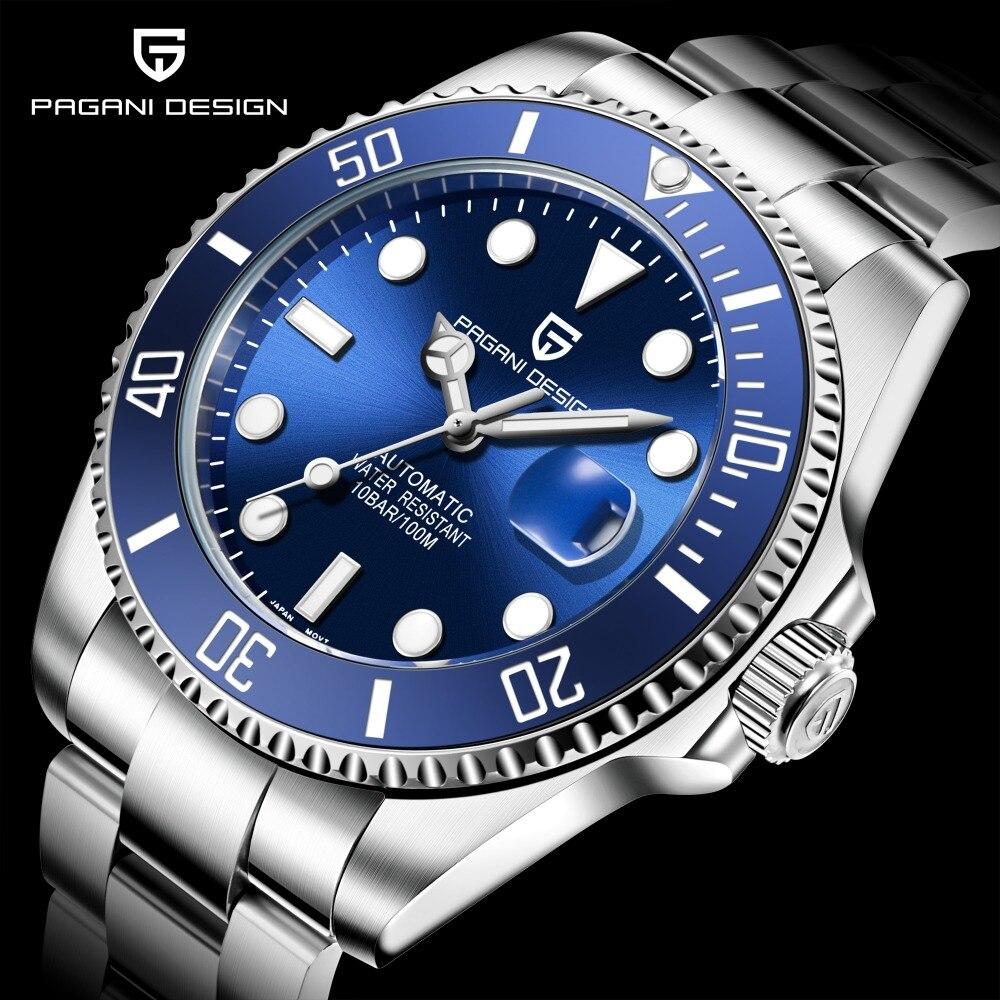 PAGANI marque Design marque de luxe hommes montres automatique montre noire hommes en acier inoxydable étanche Sport d'affaires mécanique