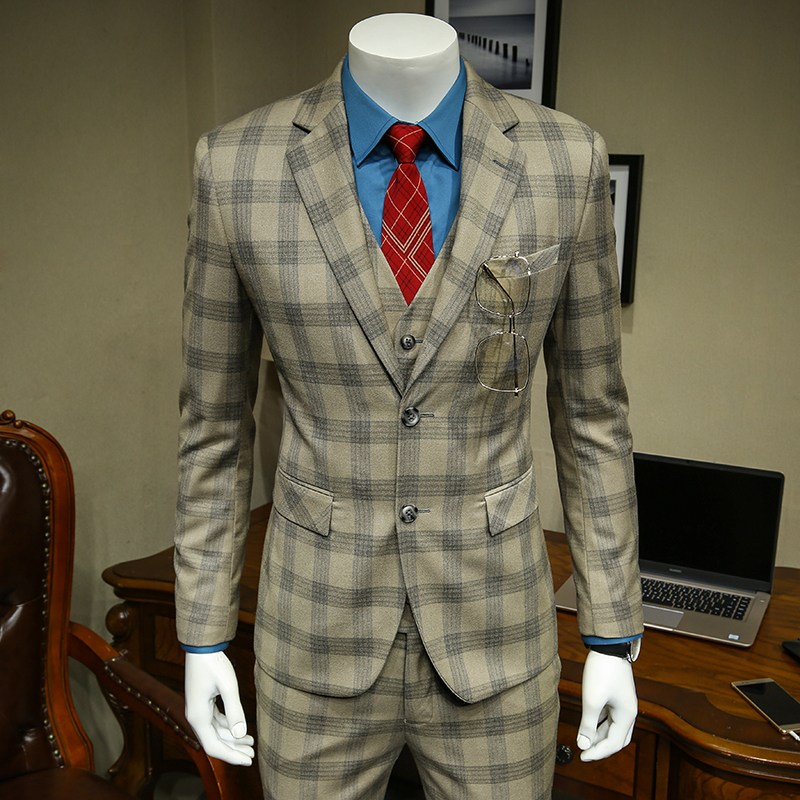 Xm geeki masculino casual terno jaquetas primavera e verão ternos blazers ajuste fino 3 peças ternos masculino khaki escuro xadrez terno 365wt36 - 2