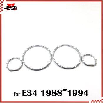 DASH srebrne pierścienie klastra srebrne pierścienie Gauge srebrne pierścienie deski rozdzielczej dla BMW E34 tanie i dobre opinie 0 05 snap in installation 1200354S Taiwan Front ABS Plastic
