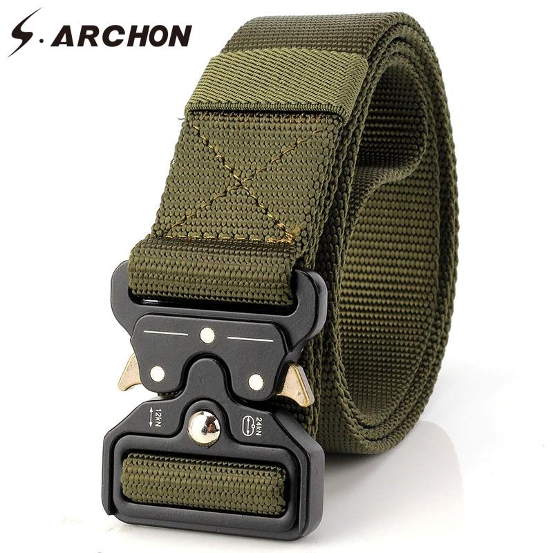 S.ARCHON SWAT Katonai Combat Nylon övek Men Meatl Buckle Sturdy - Ruházati kiegészítők
