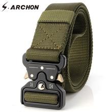 S.ARCHON SWAT Στρατιωτικές ζώνες Nylon Combat Ανδρών Meatl Buckle Ανθεκτική επιβίωση Τακτικές ζώνες μέσης Ανδρες Knock Off Στρατιωτικές ζώνες 3.8cm