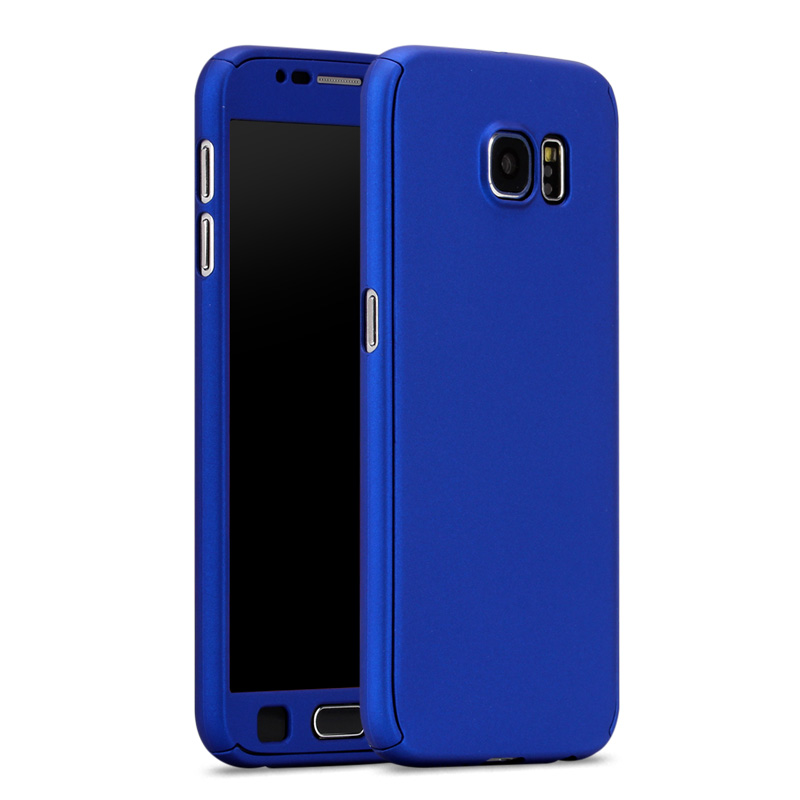 save off 5ec75 13b47 US $2.98 5% OFF|New Hybrid 360 Case For coque Samsung Galaxy S6 S7 Full  Body Protective Case Cover Hard Back Phone Bag Sleeve + Tempered Glass-in  ...