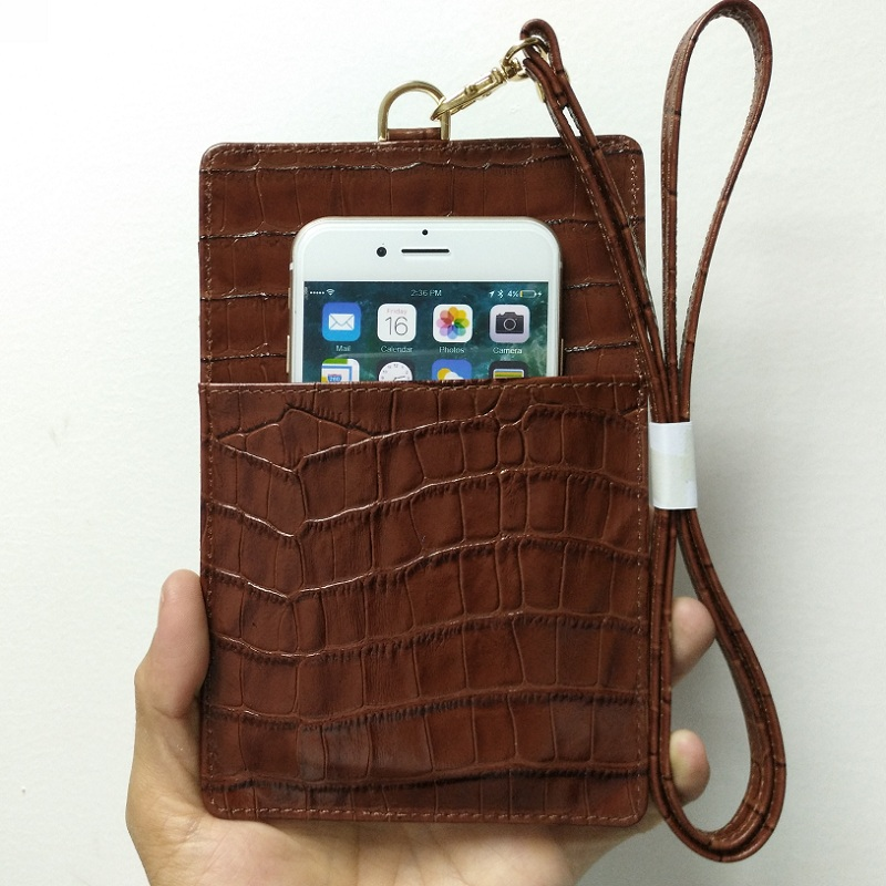 brown genuine leather card holder strap pouch cover case for iPhone x xs max 7 plus