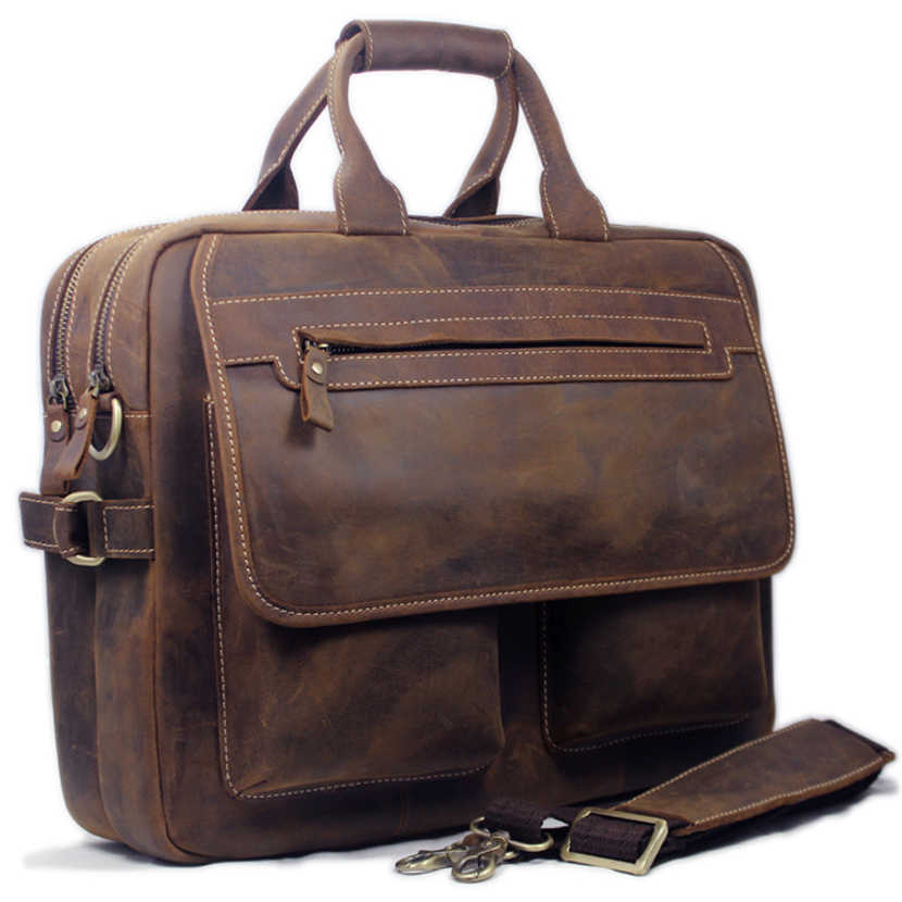 "Vintage Crazy Horse Genuine Leather Briefcase men Business Bag Men Briefcase Leather 15""inch Laptop Bag tote male Office Bag"