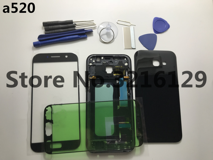 Original Full Housing Case Middle Frame+Rubber Seal Back Cover+Glass Lens Replacement Parts For Samsung A3 A320 A5 A520 A7 2017
