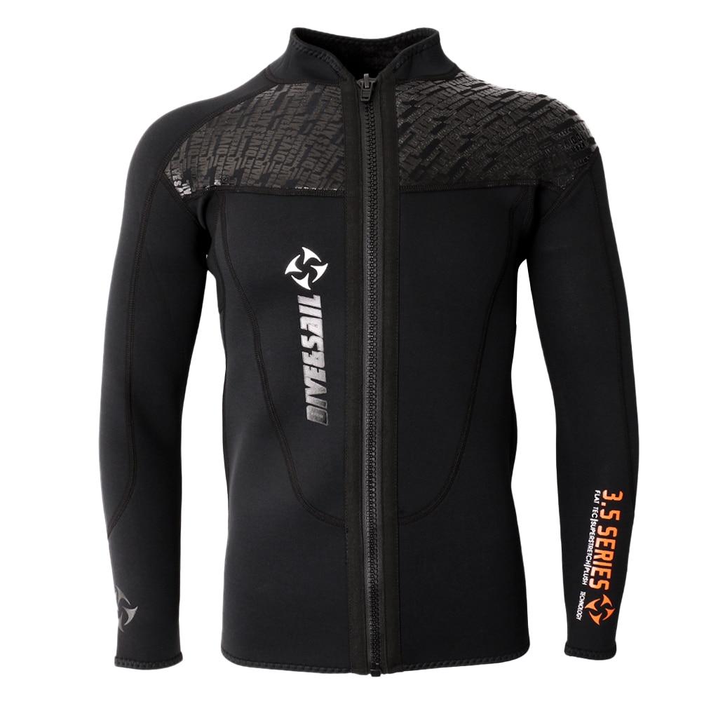 3MM Black Neoprene Long Sleeve Wetsuit for Men Front Zipper Jacket Top Surf Diving Swimming Snorkeling