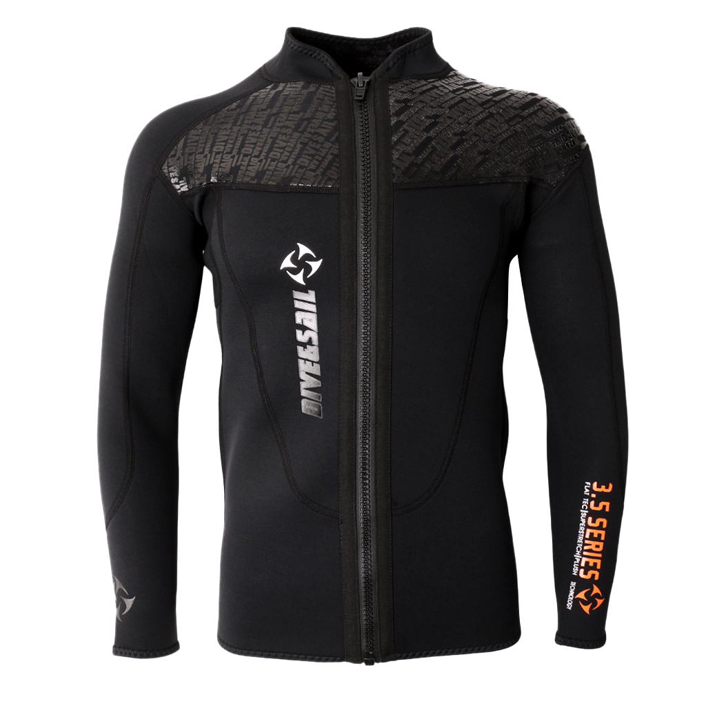 3MM Black Neoprene Long Sleeve Wetsuit for Men Front Zipper Jacket Top Surf Diving Swimming Snorkeling Water Sports Accessories
