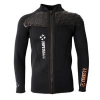 3MM Black Neoprene Long Sleeve Wetsuit for Men Front Zipper Jacket Top Surf Diving Swimming Snorkeling Water Sports Accessories