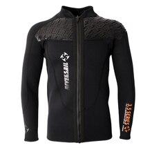 Jaqueta manga longa de neoprene masculina, 3mm, preta, zíper frontal, acessórios de esportes aquáticos, natação, mergulho