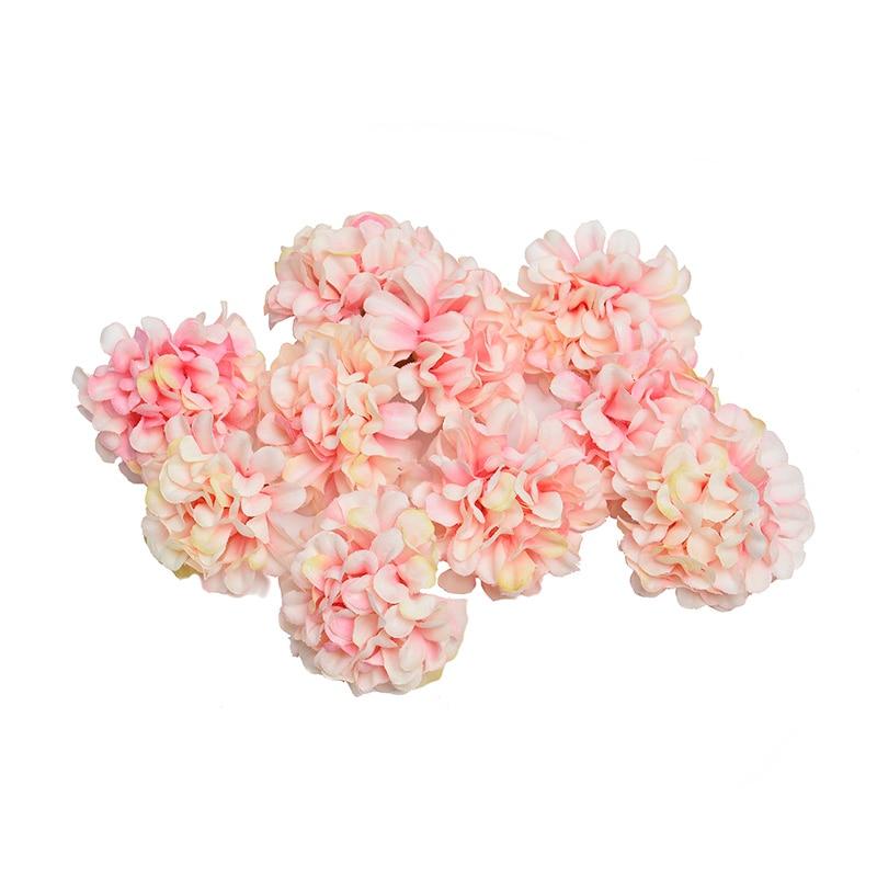 10 pcs / lot kunstig blomst silke hortensia blomsterstand til bryllupsfest hjem dekoration DIY WREATH Gaveæske Scrapbog håndværk
