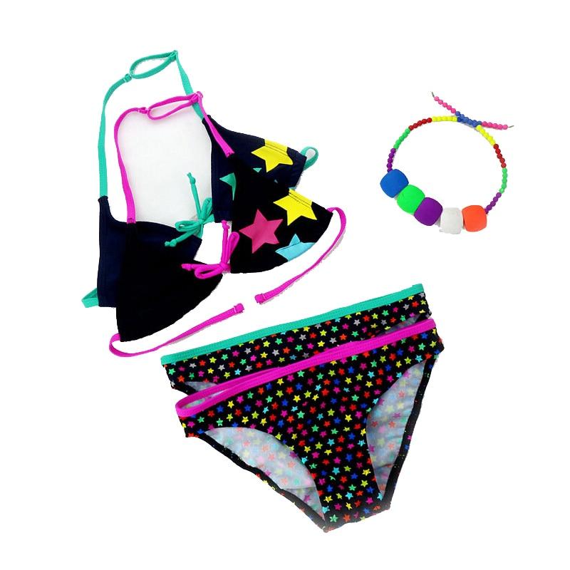 2018 New Summer Bathing Suit Girls split Two-pieces Swimwear, Children Cute Star Pattern Split Bikini Girls Swimsuit Wholesale