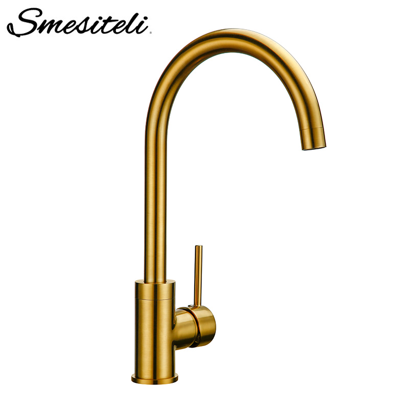 Smesiteli Luxury Gold Color Kitchen Faucet Solid Brass Mixer Hot And Cold Sink Faucet 360 Degree Rotation Kitchen Mixer Taps