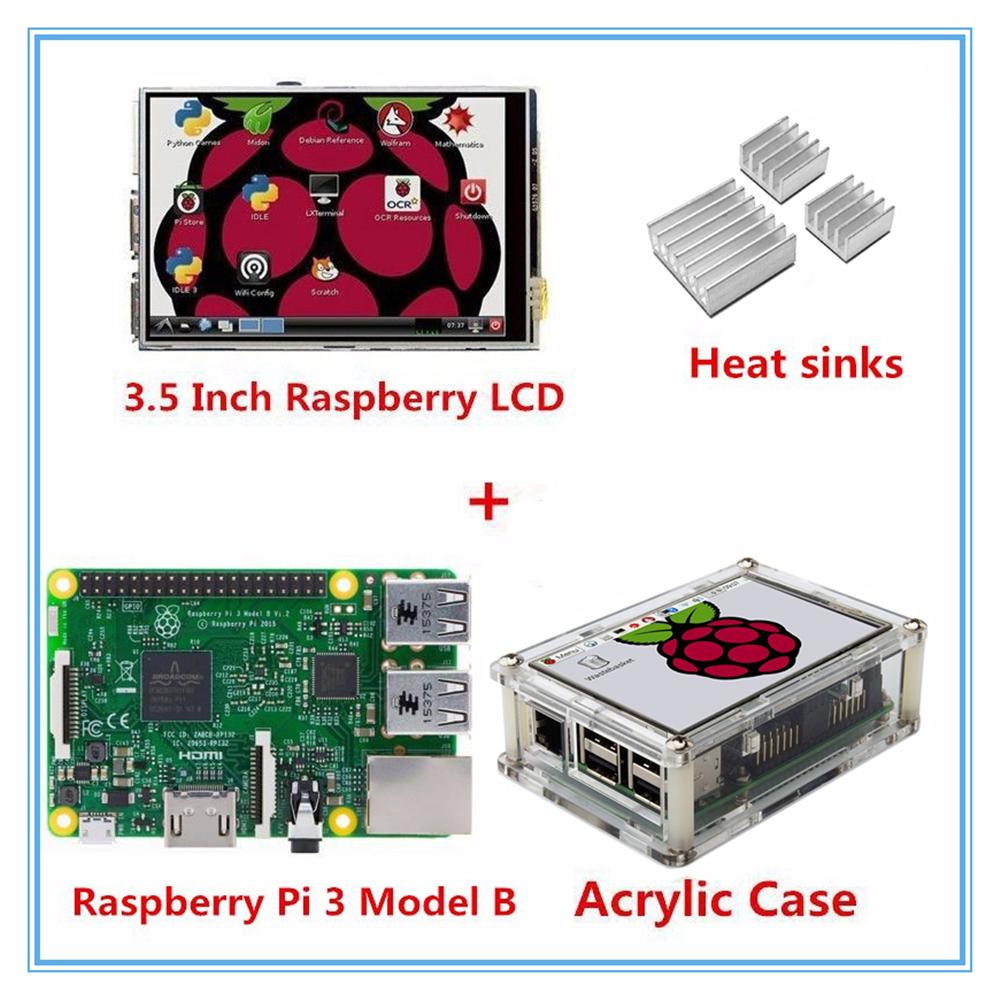Prix pour Raspberry Pi 3 Modèle B Conseil + Nouvelle version 3.5 Pouce TFT lcd tactile écran d'affichage + acrylique cas pour raspbery pi 3 orange pi