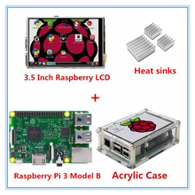 Raspberry Pi 3 Model B Board + 3.5 Inch TFT LCD USB Touch Screen Display + Acrylic Case + Heat sinks For Raspbery Pi 3 orange pi(China (Mainland))
