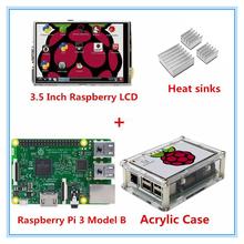 Raspberry Pi 3 Modelo B Junta + 3.5 Pulgadas TFT LCD Táctil USB visualización de la pantalla + caso de acrílico + disipadores de calor para raspbery pi 3 orange pi(China (Mainland))