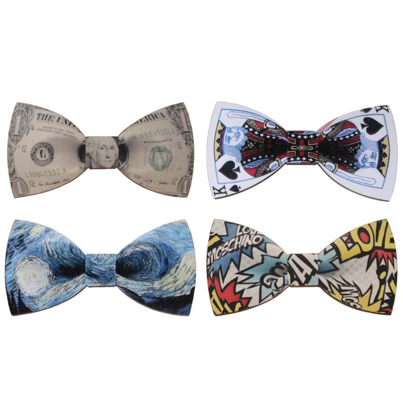 Mens Boy Funny Dollar Money Letters Print Bow Tie Wooden Magnetic Necktie Party