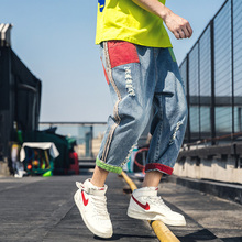 2019 Mens Leisure Casual Pants Tide Male Hit Color Bound Feet Haren Holes Jeans Baggy Homme Blue Trousers