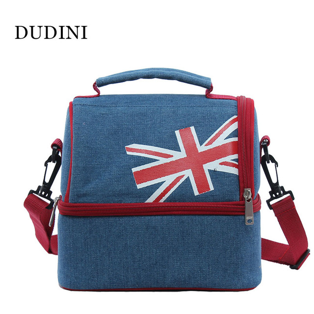 DUDINI Large Capacity Lunch Bags Portable Practical Double Insulation Bags Oxford Cloth Picnic Bag Carry Lunch Bags Women