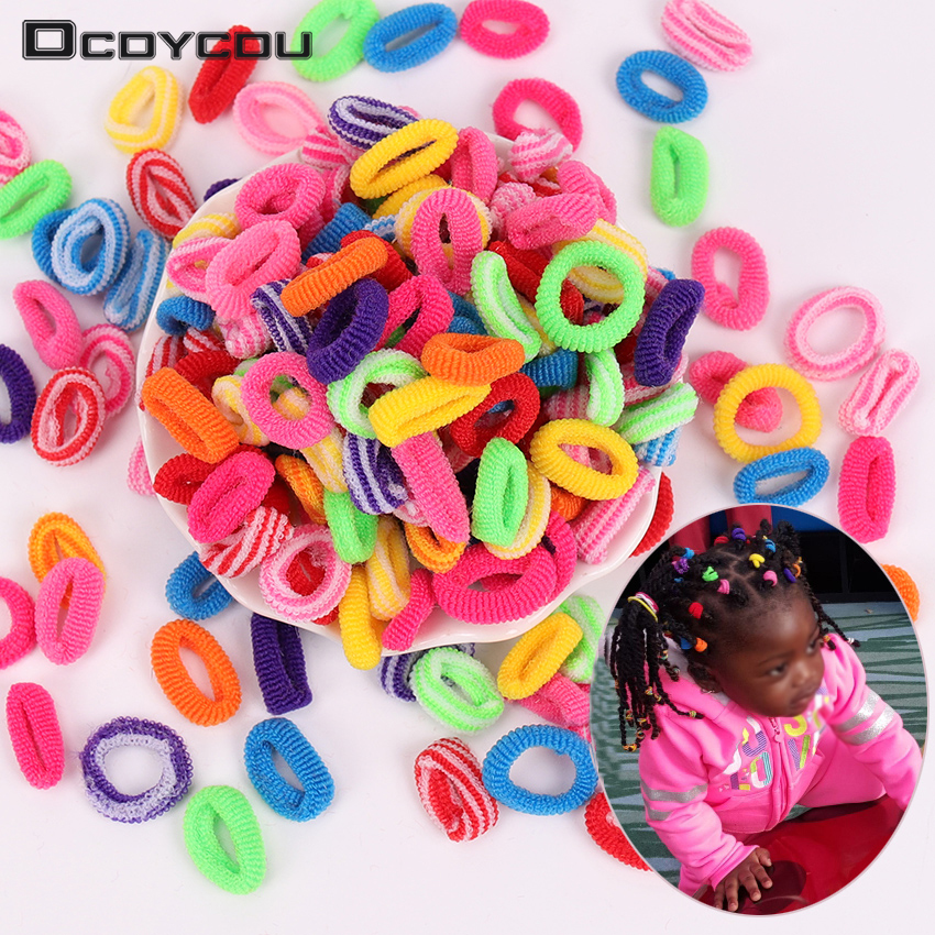 100PCS Colorful Stripe Child Kids   Headwear   Cute Rubber Hair Band Elastics Hair Accessories Girl Women Charms Tie Gum