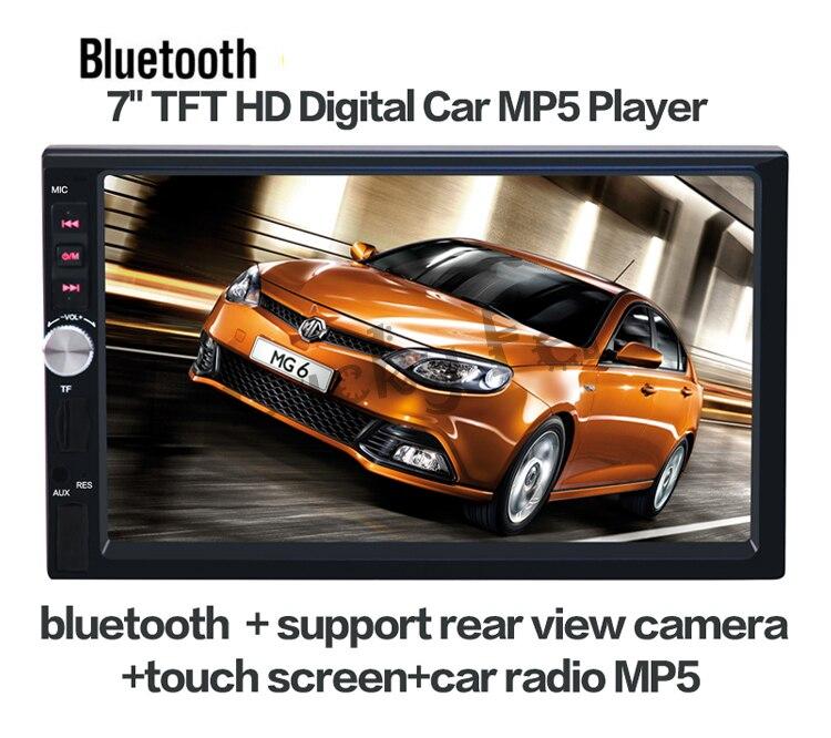 imágenes para 2017 Nuevo 7 ''pulgadas LCD de pantalla Táctil reproductor de radio de coche de apoyo 5 Idiomas de Menú BLUETOOTH manos libres cámara de visión trasera del coche de audio