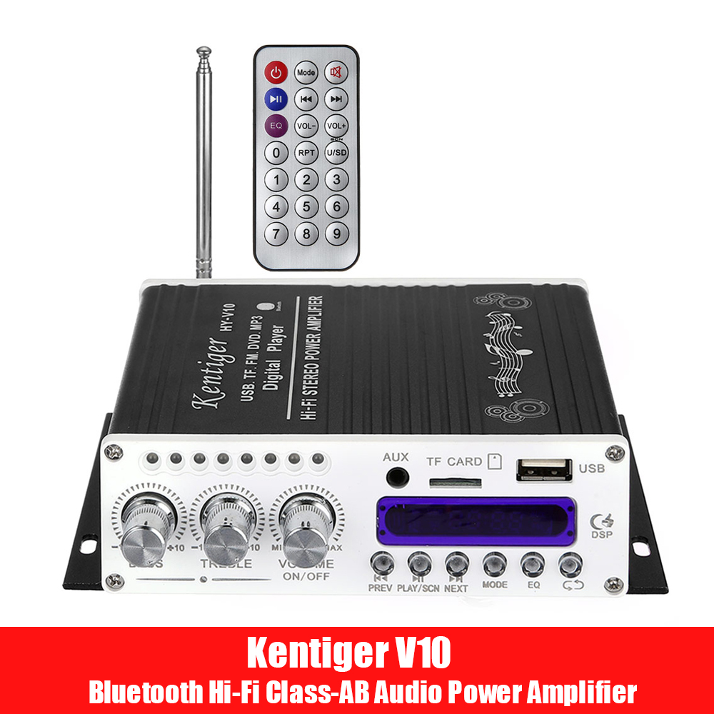Kentiger V10 Bluetooth Hi-Fi Class-AB Stereo Super Bass Audio Power Amplifier Senior Shielding Inductor Wireless Amplificador
