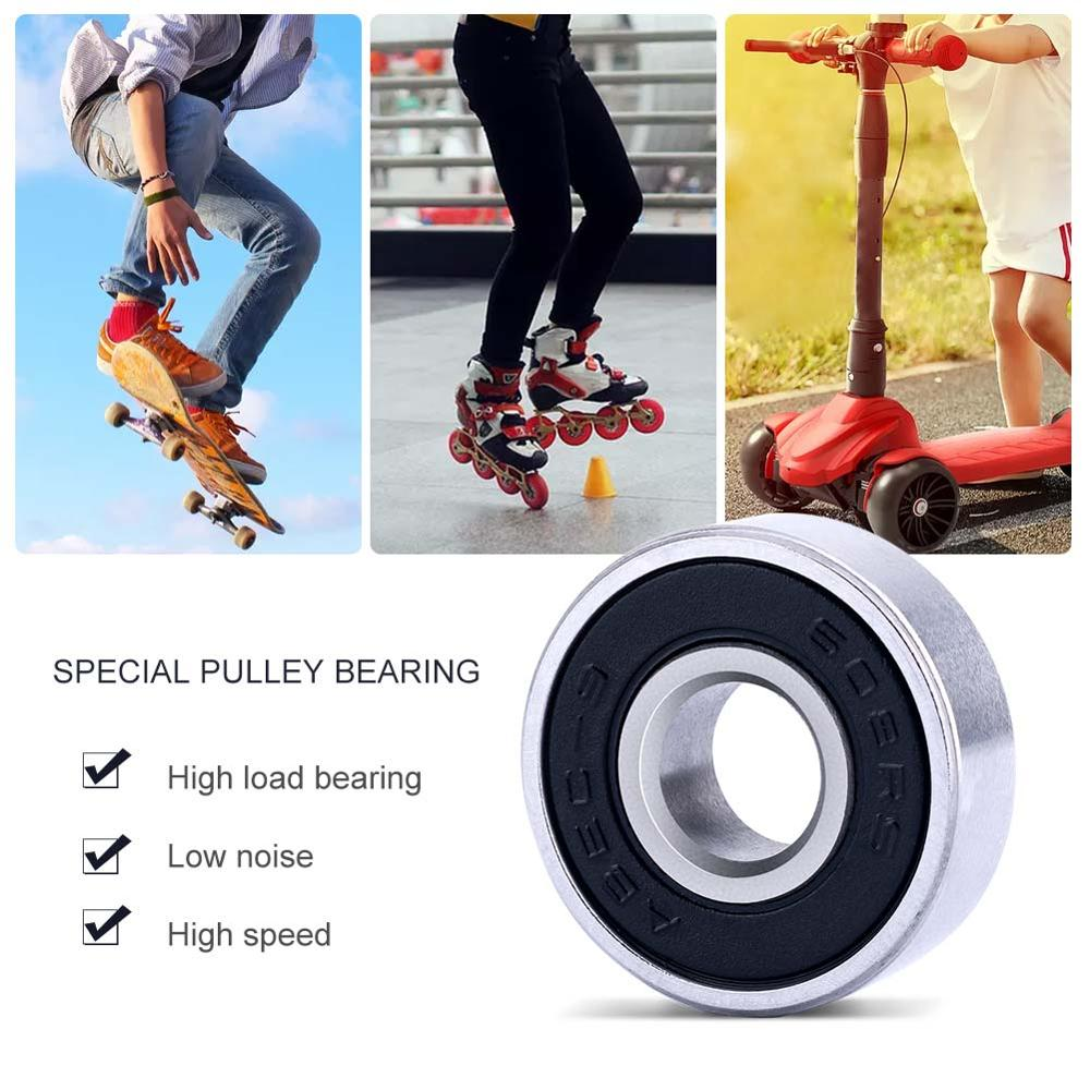 608RS 10 Pcs/set Skateboard Bearings Stainless Steel Bearings ABEC-9 Double Shielded Professional For Skateboard (8 X 22 X 7)