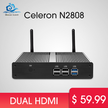 Windows tv box Dual HDMI Mini PC Celeron N2807 Windows 7/8/10 Fanless Mini Computer HDMI Wifi USB 500GB HDD PC Nettop