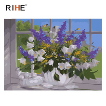 RIHE Lavender Vase Diy Painting By Numbers Window Flower Oil On Canvas Hand Painted Cuadros Decoracion Acrylic Paint