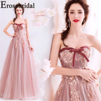 Erosebridal Simple 3D Flower Long Evening Dress Formal Women Prom Party Wear 2019 A Ling Gowns Pink Color Elegant Strapless