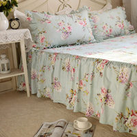 Top rustic full flower rufflled bedspread 100% cotton quality bed skirt bed sheet handmade bedspreads twin bed skirts queen size