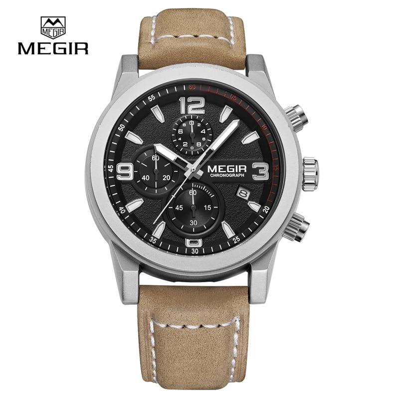 Prix pour Megir auto date de luxe montre hommes chronographe hommes montres d'affaires bracelet en cuir montre homme 2026 relojes hombre 2016